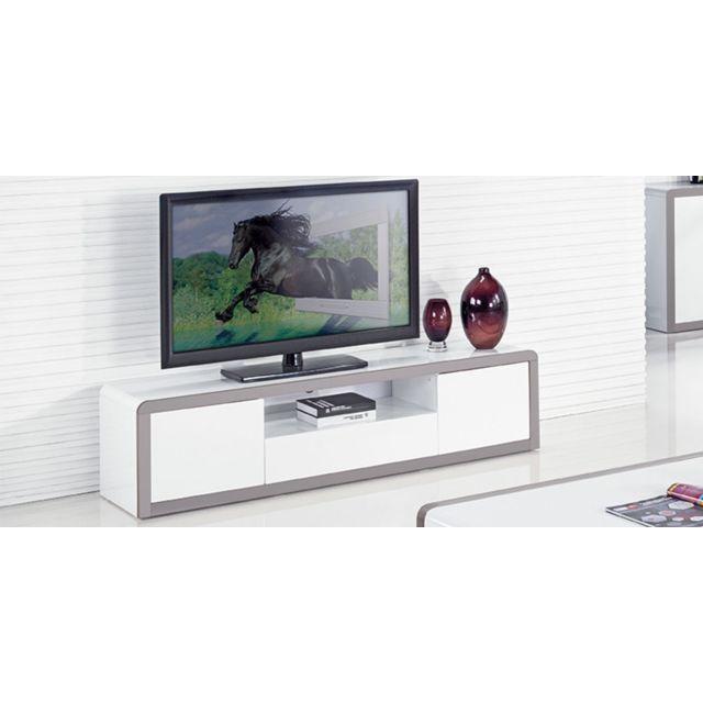 meuble tv laque juliana blanc gris