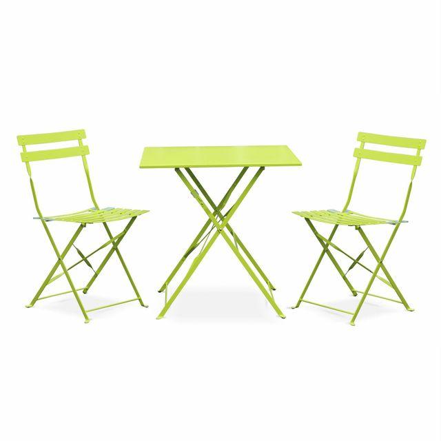 salon de jardin bistrot pliable emilia carre vert anis table carree