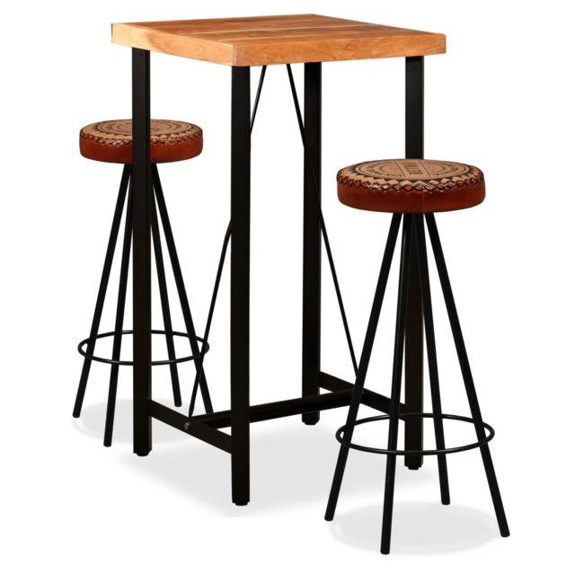 vidaxl jeu de bar 3 pcs bois de sesham et toile tabourets table cuir veritable