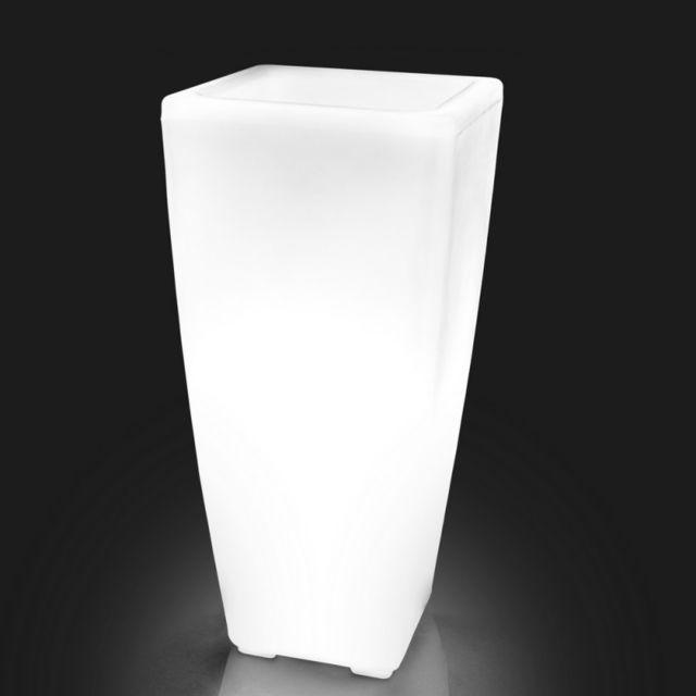 Ma Maison Mes Tendances Cache Pot Lumineux 70cm En Plastique Blanc Ibarra L 32 X L 32 X H 70 Poterie Bac A Fleurs Rue Du Commerce