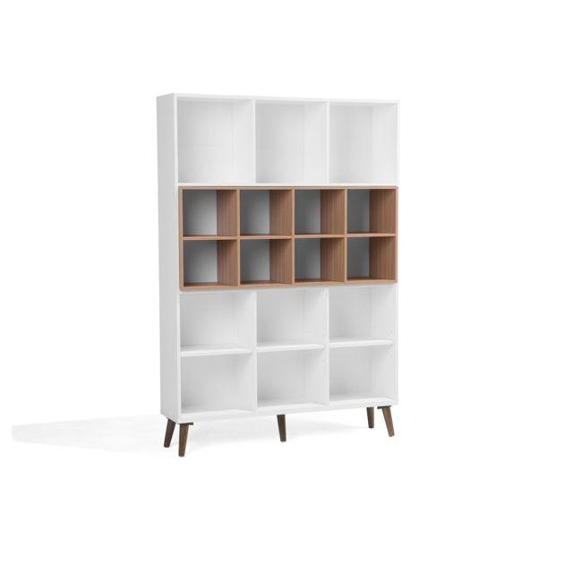 beliani bibliotheque blanche et marron 5 cases alloa marron