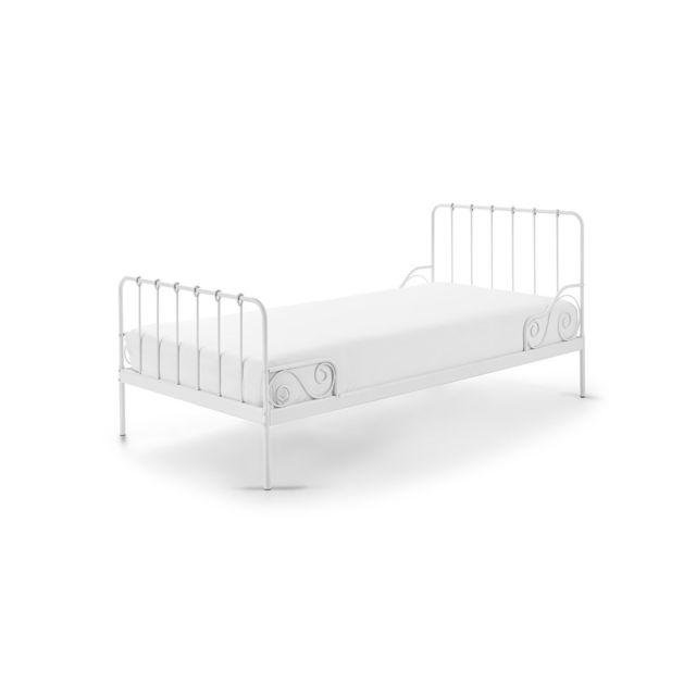 vipack lit en m tal alice 90x200cm blanc