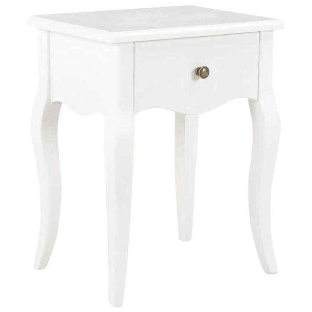 vidaxl bois de pin massif table de chevet blanc table de nuit armoire chambre
