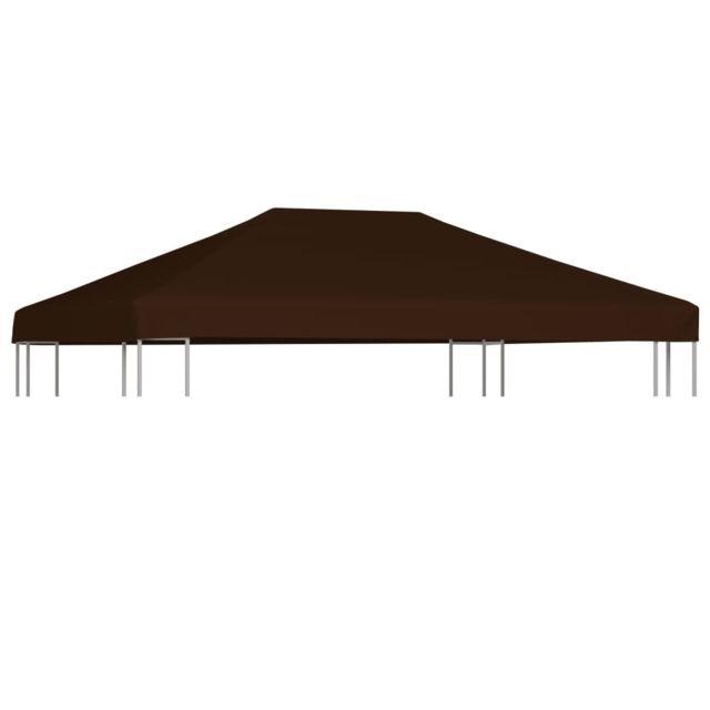 vidaxl toile superieure de gazebo 310 g m 3x4 m marron belvedere jardin patio