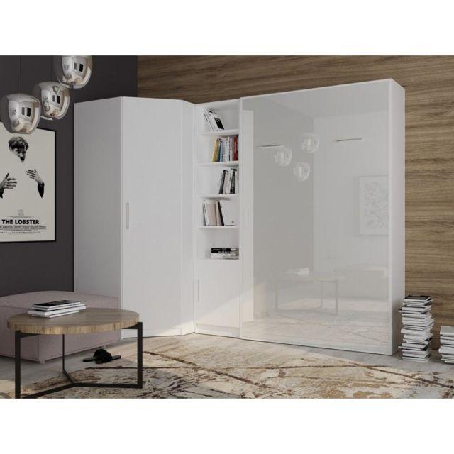 lit escamotable d angle smart v2 140 200 cm blanc mat facade gloss blanc
