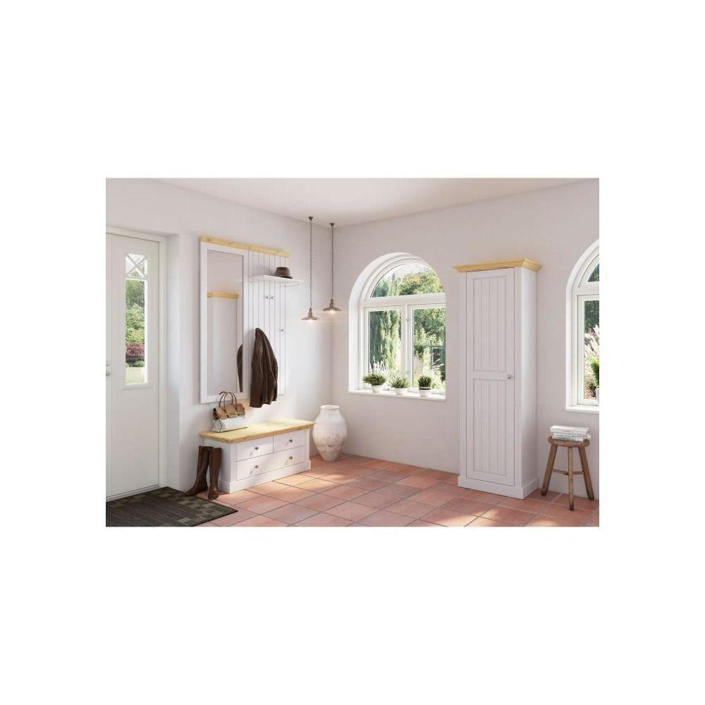 icaverne vestiaire meuble d entree monaco ensemble meubles d entree banc 3 tiroirs panneau mural avec 4 pateres tablette et miroir pin