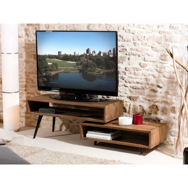 meuble tv alida bois rotatif scandi