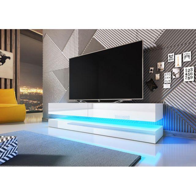 vivaldi meuble tv fly 140 cm blanc mat blanc brillant led style
