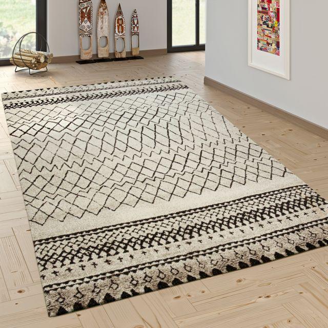 tapis createur moderne scandinave tendance motif zigzag noir creme