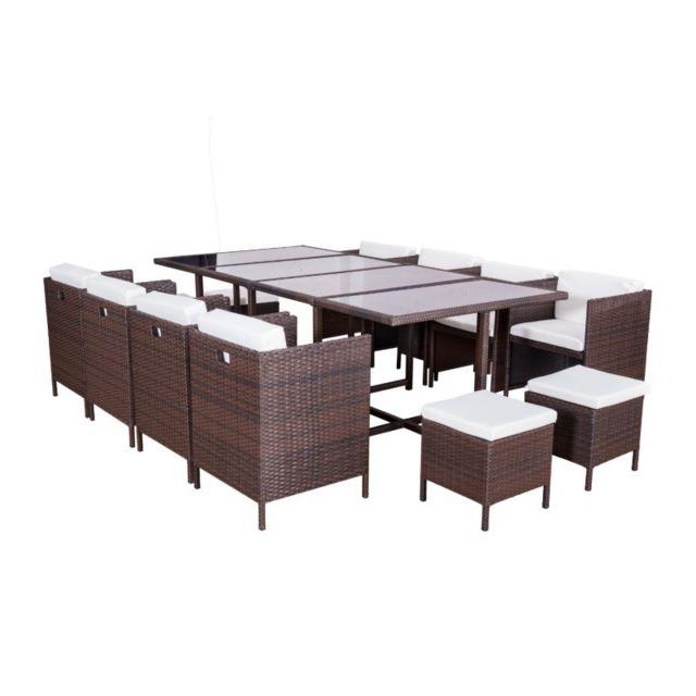 12 places ensemble encastrable salon table de jardin resine tressee
