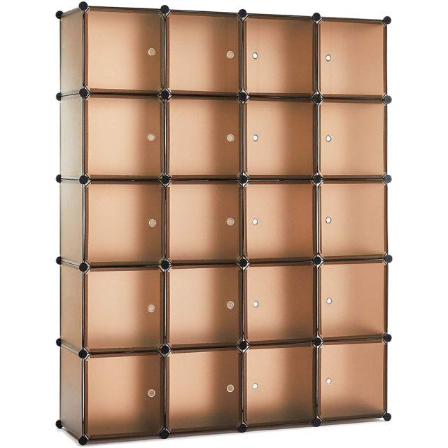 armoire penderie portable etagere de rangement 20 cubes cafe meerveil