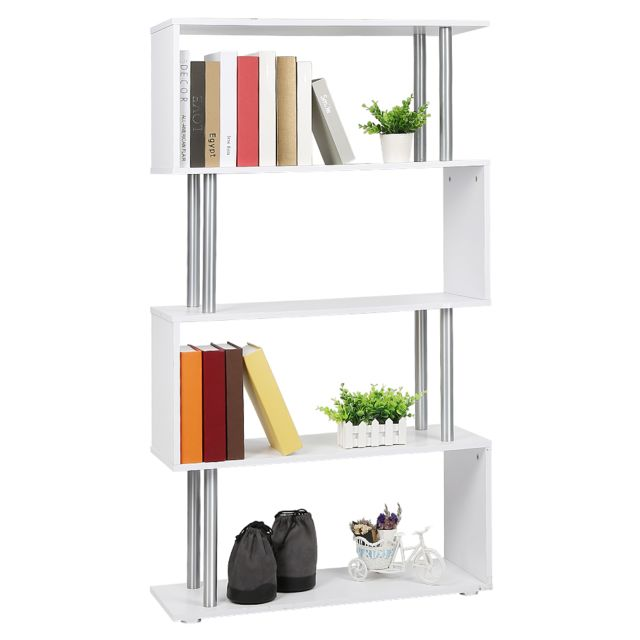 4 etageres meuble rangement etagere a livres blanc 80 30 145cm