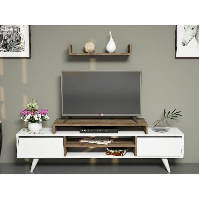homemania meuble tv melis moderne murale avec portes etageres pour salon