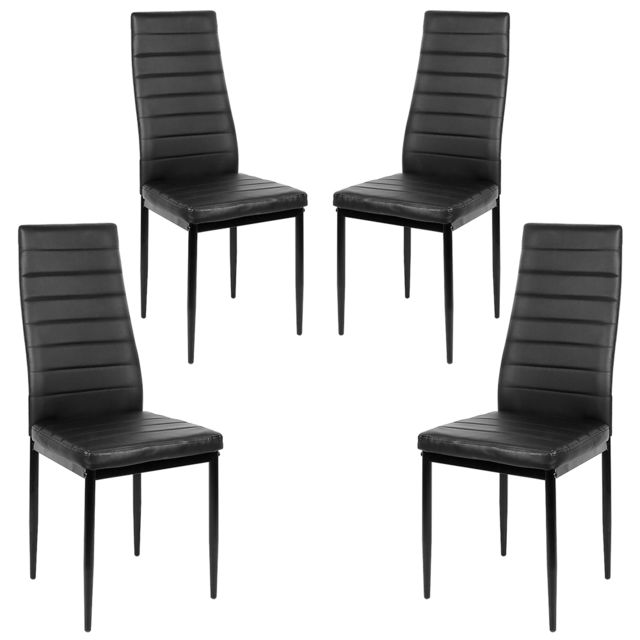 lot de 4 chaises de salle a manger retro en cuir pu noir de haute qualite