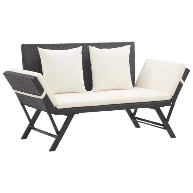 vidaxl banc de jardin avec coussins 176 cm noir resine tressee terrasse patio