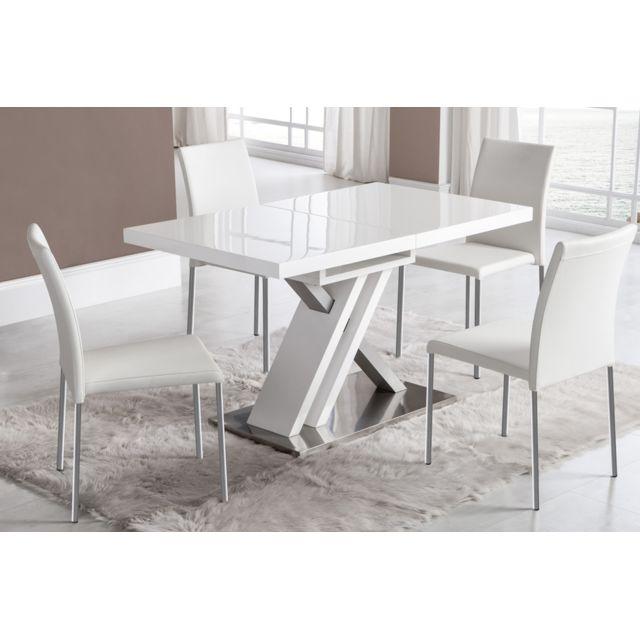 table de salle a manger extensible blanc laque et argent design osaka