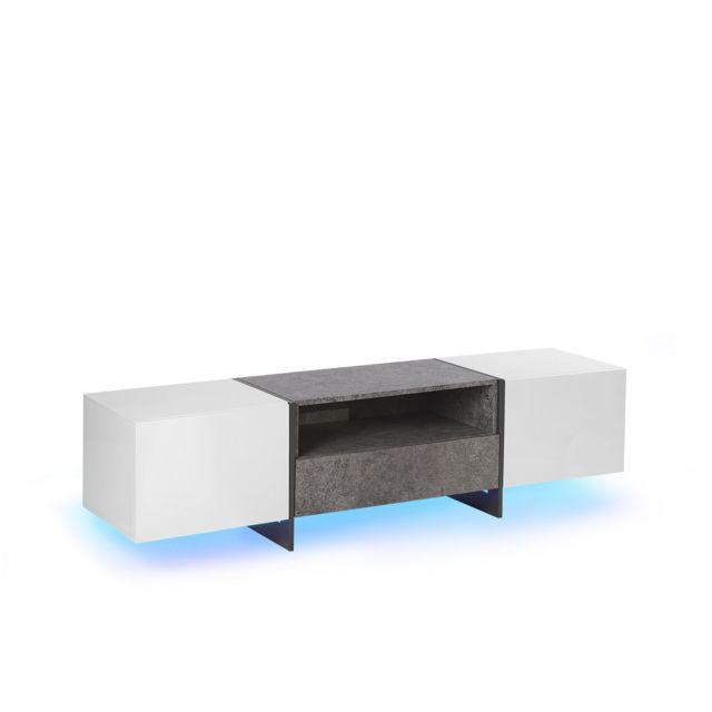 beliani meuble tv blanc et gris beton avec eclairage led russel blanc