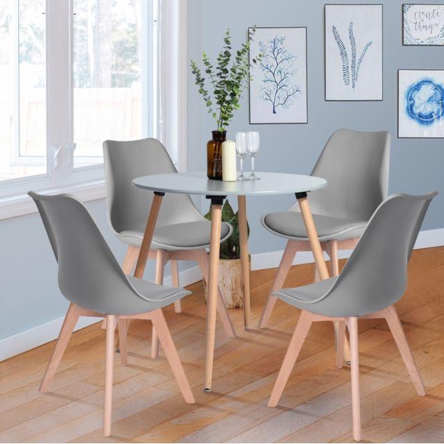 ensemble table a manger ronde et 4 chaises scandinave bois gris