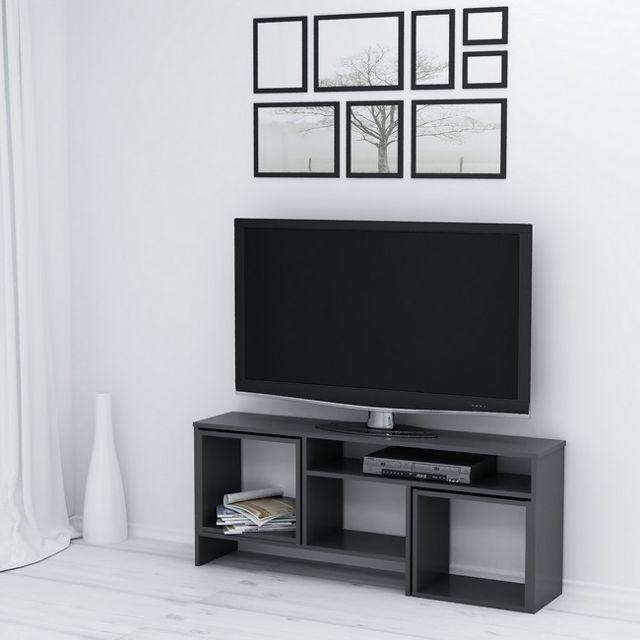 homemania kasa meuble tv avec table basse portes etageres pour le salon