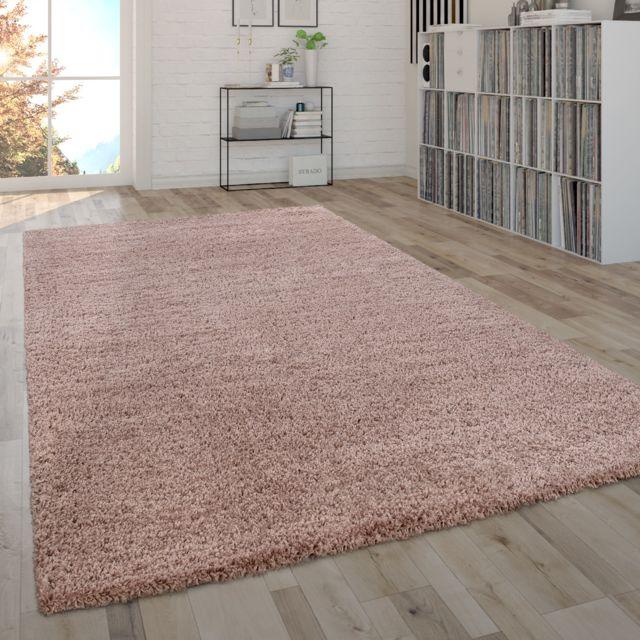 tapis shaggy poils longs moelleux salon facile a entretenir moderne uni rose