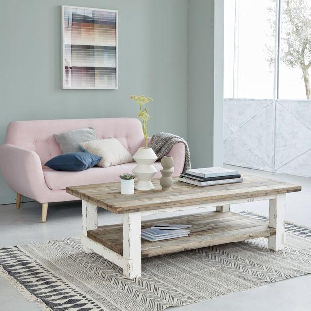 table basse en bois de pin recycle double plateau