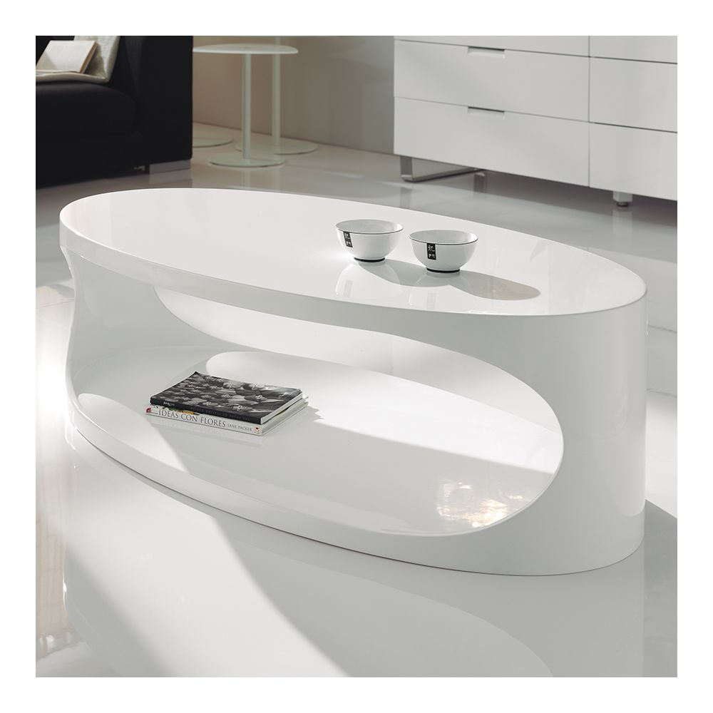 nouvomeuble table basse ovale blanc laque design oxy