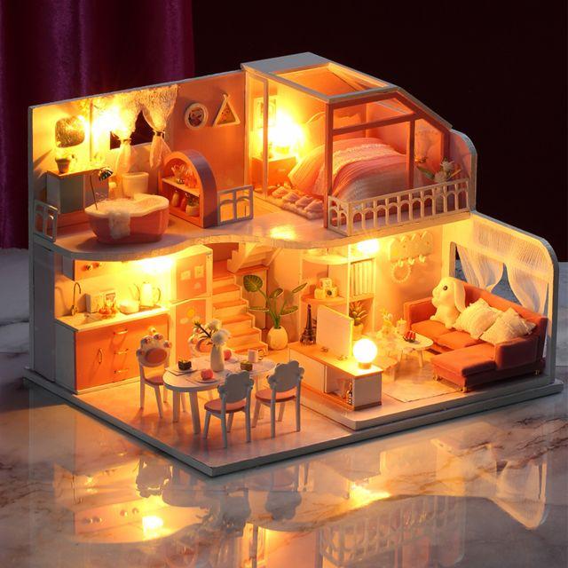 kit miniature de maison de poupee en bois bricolage avec meubles et lumiere