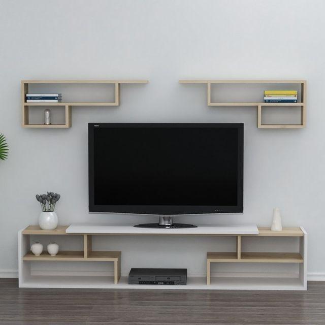 homemania istanbul meuble tv avec etageres portes tablettes du salon