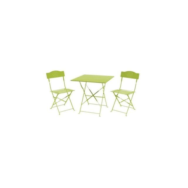 set bistrot 2 personnes table 70x70 cm 2 chaises acier thermolaque vert