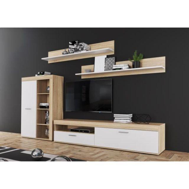 living meuble tv mural complet anklam ensemble meuble tv l 213 x p 42 x h