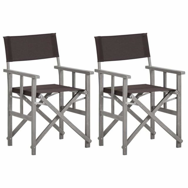 vidaxl chaises de metteur en scene 2 pcs bois massif d acacia