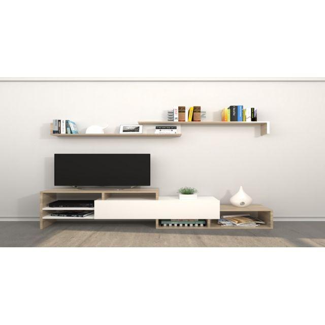 homemania meuble tv fenice avec etageres compartiments pour salon