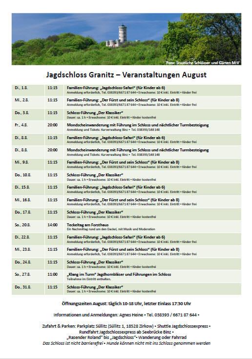 Veranstaltungen Jagdschloss Granitz August 2017