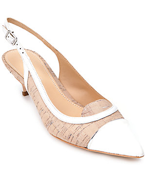 Donald J Pliner 'Flora' Leather & Cork Slingback Kitten Heel Pump