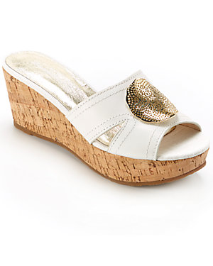 Tommy Bahama 'St. Santino' Leather & Linen Wedge Slide