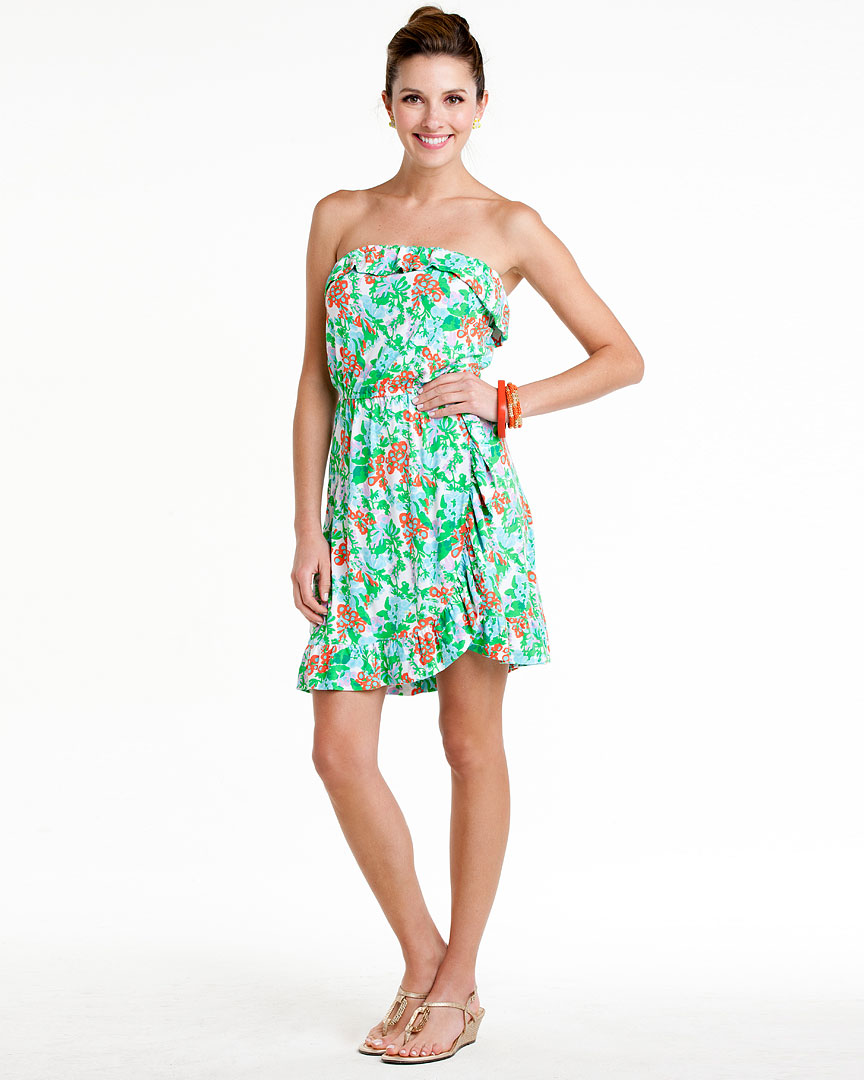 """ce37c25b7f276d Lilly Pulitzer """"Flor"""" Resort White High Tide Toile Dress, $69.90"""