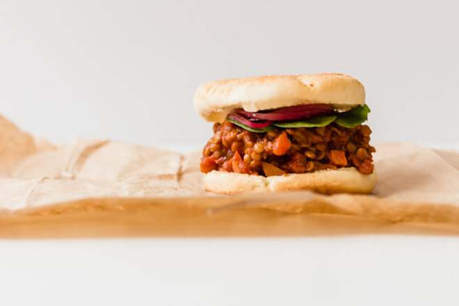 head on shot of a lentil sandwich