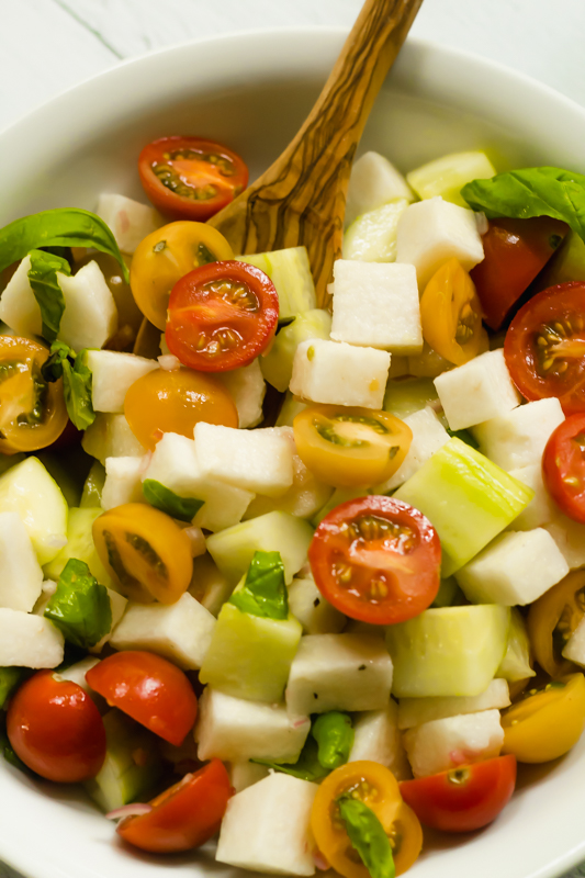 close up of a diced vegetable salad
