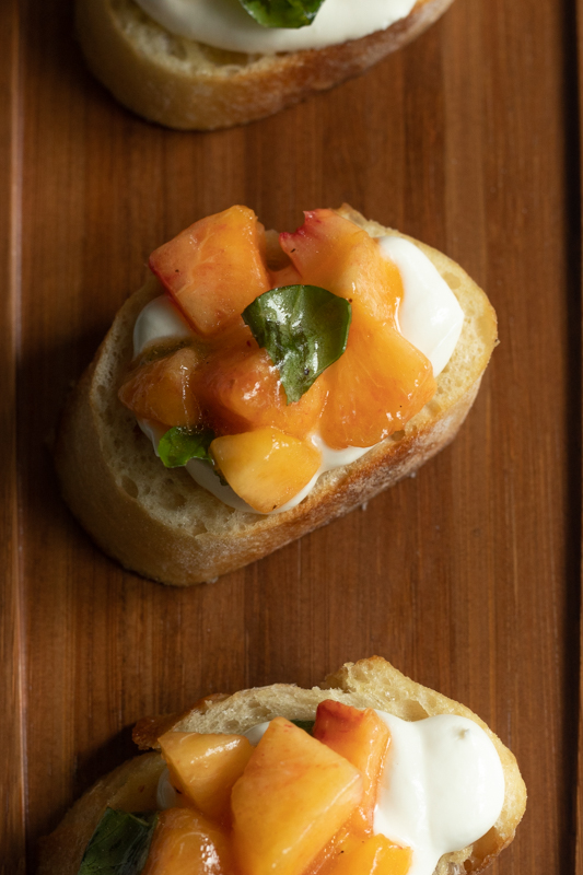 close up of peach bruschetta b