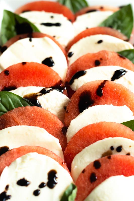 bright photo of watermelon and mozzarella salad
