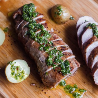 pork tenderloin with green herb dressing and potatoes