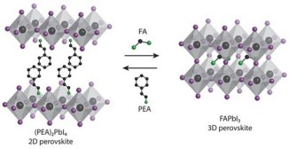 The 2D films based on 2-phenylethylammonium lead iodide produce 3D formamidinium lead iodide films via cation exchange.   Illustration Loi lab / University of Groningen