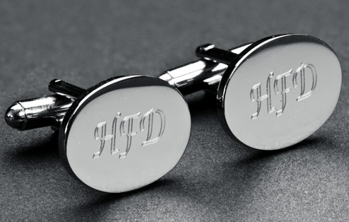 Personalised Engraved Silver Rugby Oval Cufflinks