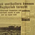 Rugby Club Hilversum - krantenbericht nieuw veld