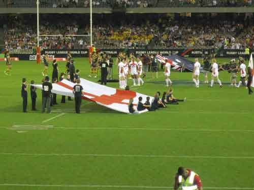 2008 RLWC Melbourne England and Australia get ready for National Anthem