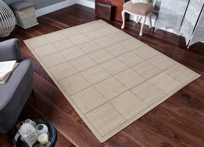 Kitchen Rugs   Kitchen Runners   Free UK Delivery   Rugs Direct Checked Flatweave Beige Rug