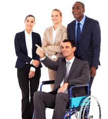 Individual in a wheelchair surrounded by three people