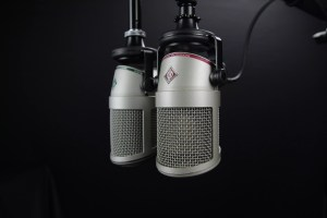 Two Microphones on a Black Background