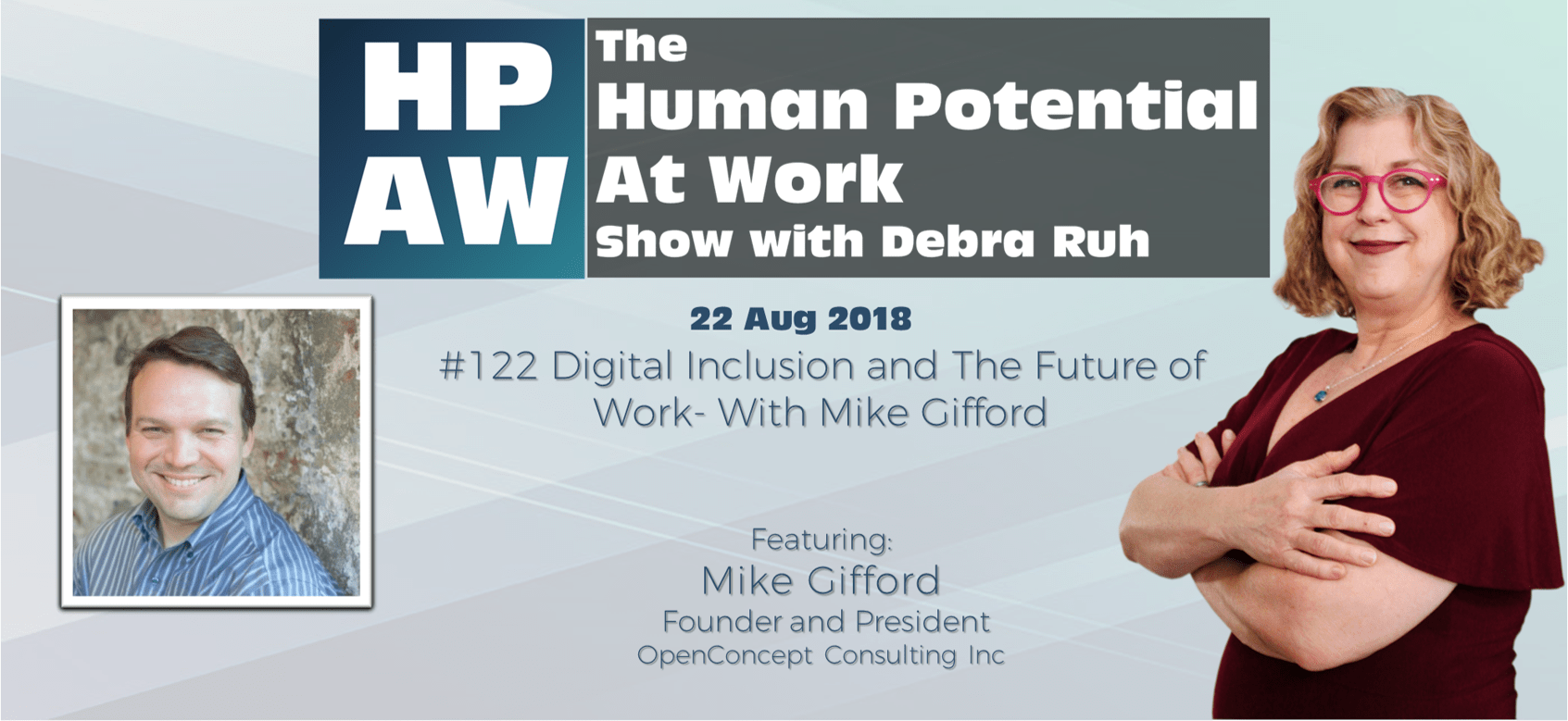 Episode Flyer for #122 Digital Inclusion and The Future of Work- With Mike Gifford