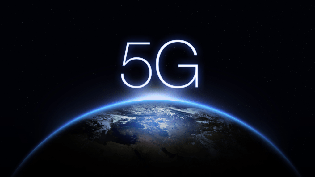5G written in Big White Letters Over Planet Earth